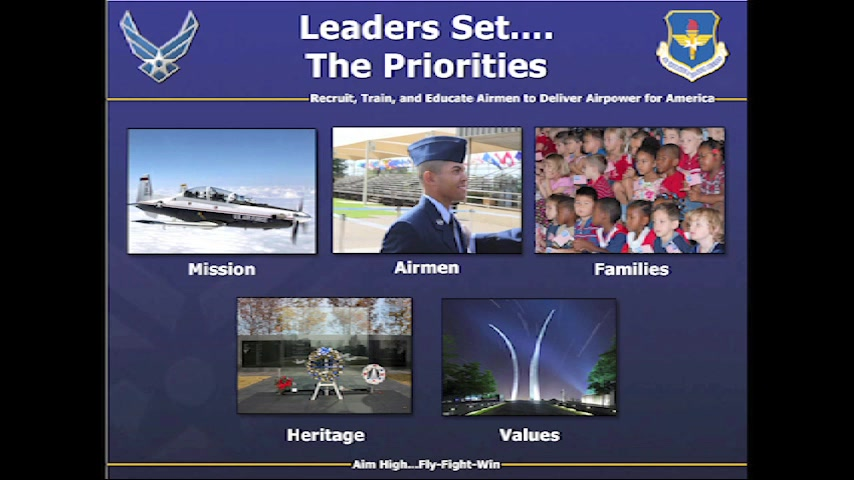 All commanders must make sure they concentrate on five priorities: Mission, Airmen, Families, Heritage and Values. If everything is a priority then nothing is a priority because you spread yourself too thin.