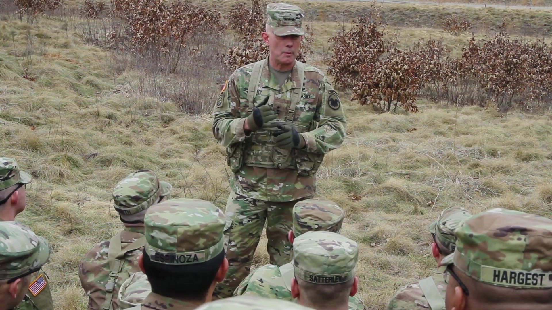 LTG Luckey talks about the Road to Awesome and his priorities for the Army Reserve with Soldiers at a live fire range at Fort McCoy, Wisconsin.