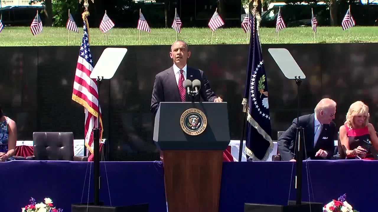 Remarks at the Vietnam Wall by President Barack Obama at the Commemoration Ceremony of the 50th Anniversary of the Vietnam War, May 28th, 2012, Washington, DC.  Please visit www.VietnamWar50th.com for more information.  Join the nation...thank a Vietnam Veteran!