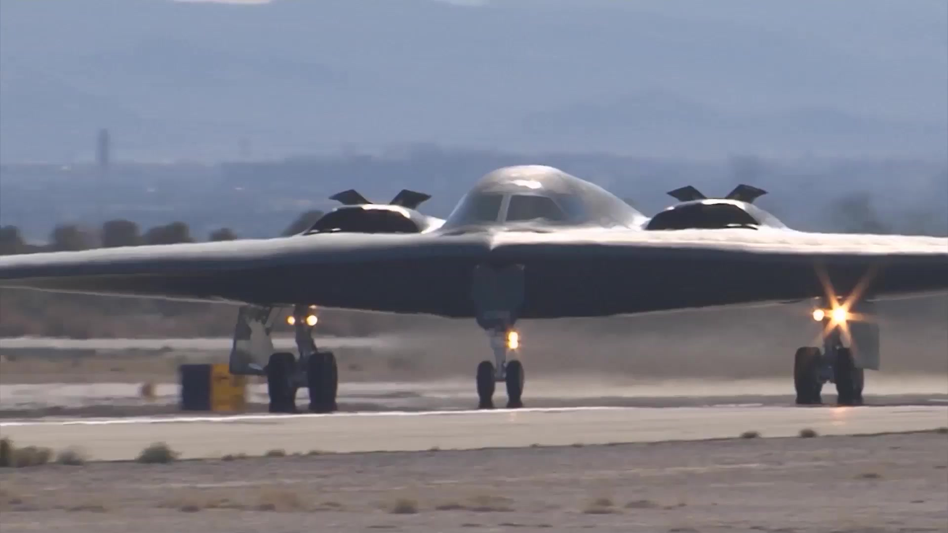 Footage of a B-2 Spirit Stealth Bomber during takeoff. This aircraft is assigned to the 509th Bomb Wing, Whiteman Air Force Base, Missouri.   U.S. Air Force video by 99th ABW/PA