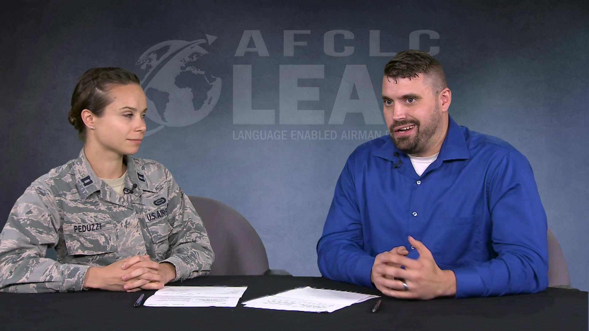 Language Enabled Airman Program (LEAP) interview with Capt Evgenia Peduzzi's, discussing her experiences as a member of the LEAP program and the skillsets and opportunities LEAP members provide in assisting the DoD mission.