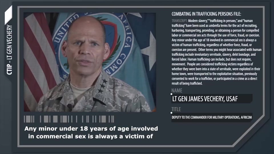 An Air Force general explains the definition of human trafficking.