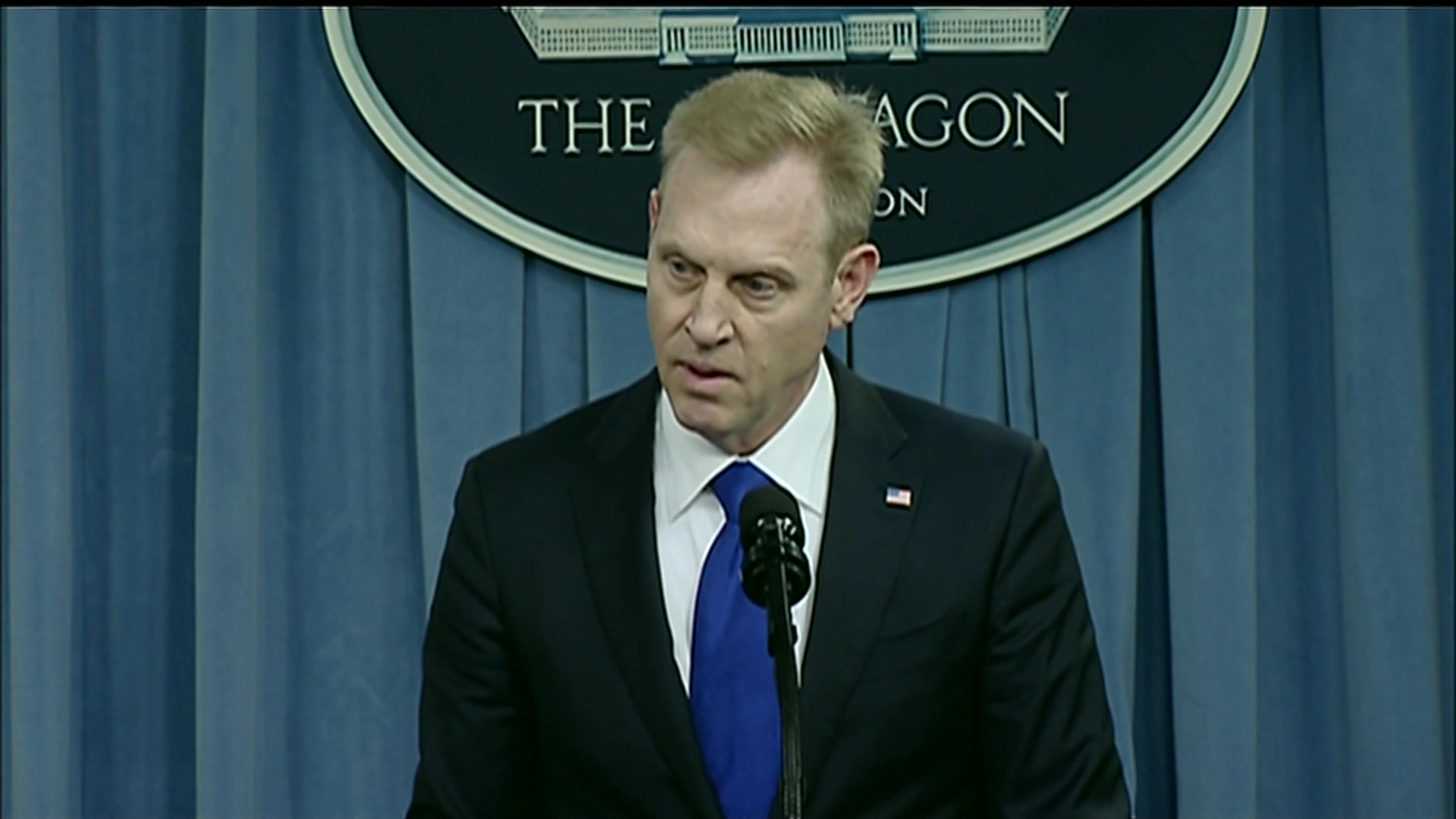 Deputy Defense Secretary Patrick M. Shanahan gives opening remarks at a press briefing on the nuclear posture review rollout at the Pentagon, Feb. 2, 2018.