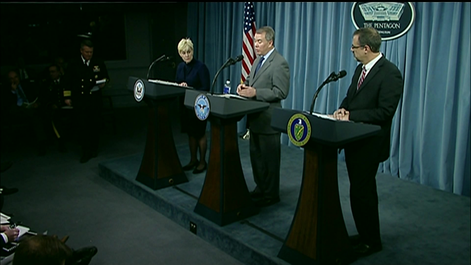 Deputy Defense Secretary Patrick M. Shanahan, Deputy Energy Secretary Dan Brouillette and Undersecretary of State for Political Affairs Thomas A. Shannon Jr. co-host the nuclear posture review rollout during a press briefing at the Pentagon, Feb. 2, 2018. After the rollout, Acting Assistant Secretary of State for Arms Control, Verification and Compliance Anita E. Friedt, Undersecretary of Defense for Policy John C. Rood and Acting Undersecretary for Nuclear Security and National Nuclear Security Administration Administrator Steve Erhart answer questions from reporters.