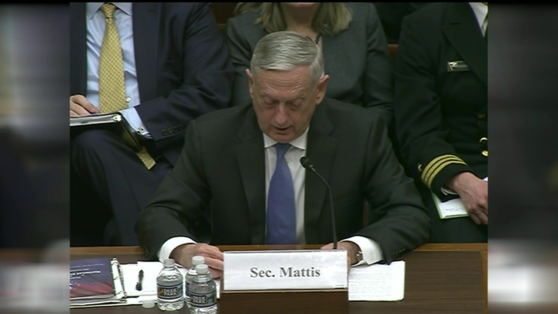 Defense Secretary James N. Mattis and Air Force Gen. Paul Selva, the vice chairman of the Joint Chiefs of Staff, testify before the House Armed Services Committee on the National Defense Strategy and the Nuclear Posture Review, Feb. 6, 2018.