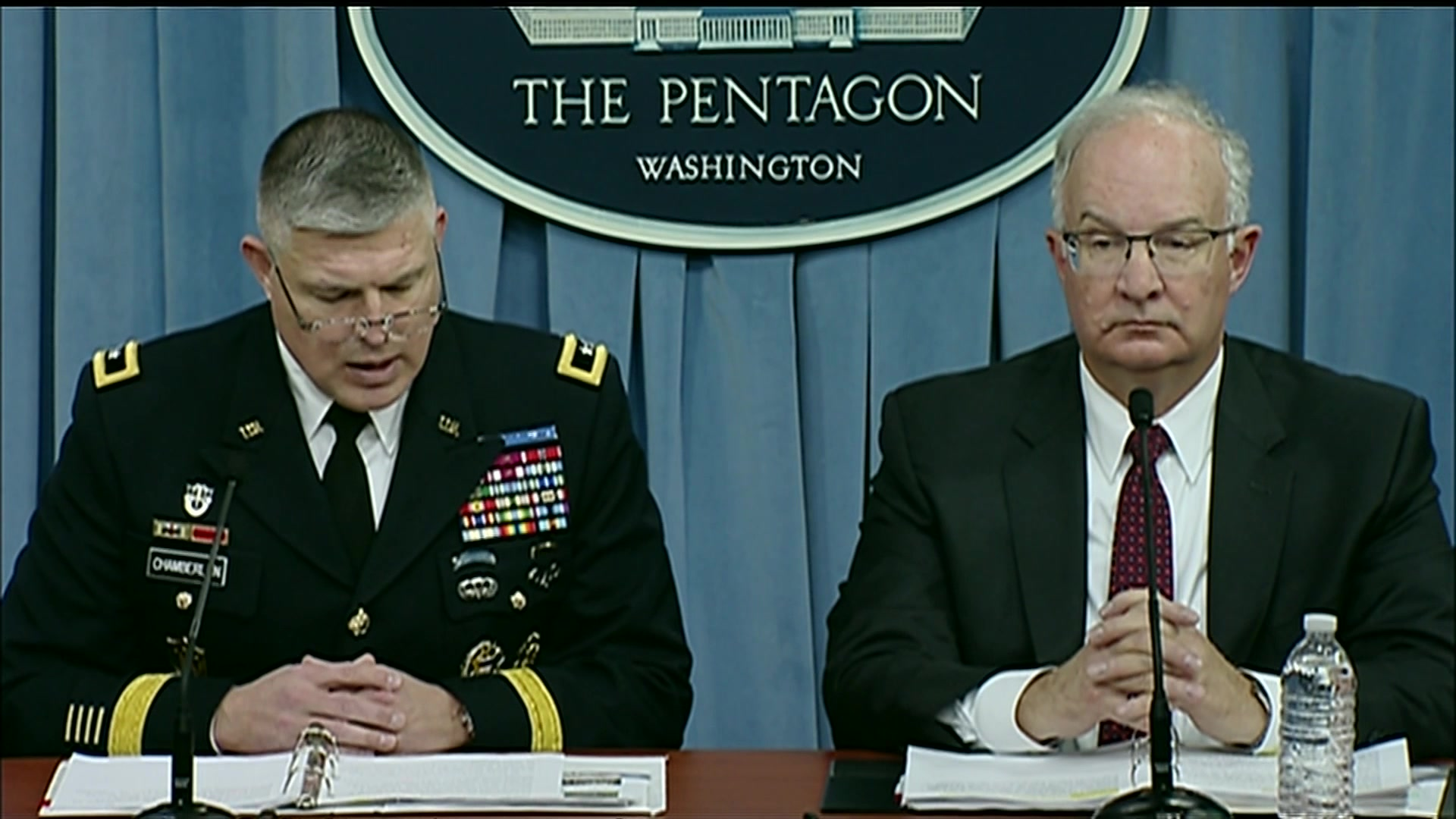Army Budget Director Maj. Gen. Paul A. Chamberlain and Deputy Director Davis S. Welch, brief Pentagon reporters on the fiscal year 2019 defense budget request, Feb. 12, 2018.