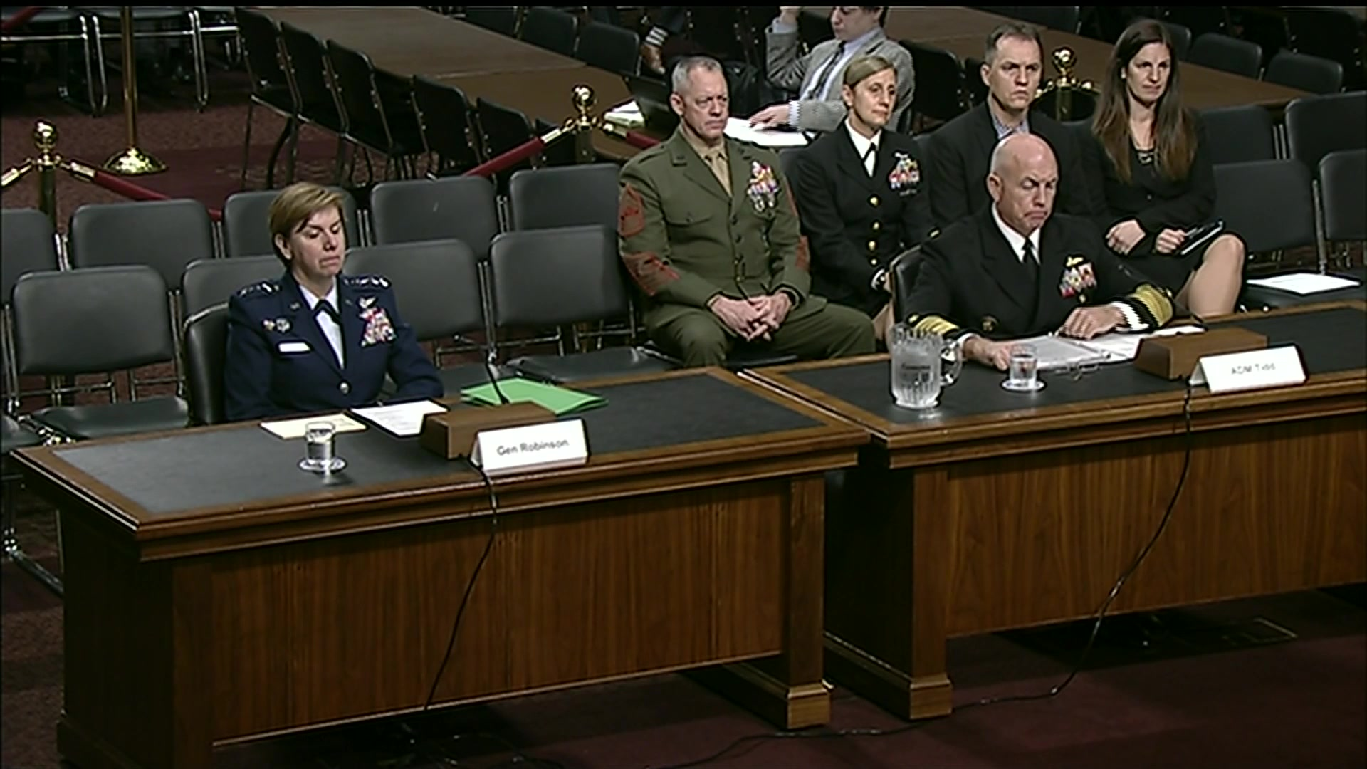 Air Force Gen. Lori J. Robinson, commander of North American Air Defense Command and U.S. Northern Command, and Navy Adm. Kurt W. Tidd, commander of U.S. Southern Command, testify at a Senate Armed Services Committee hearing on the defense authorization request for fiscal year 2019 and the Future Years Defense Program, Feb. 15, 2018.