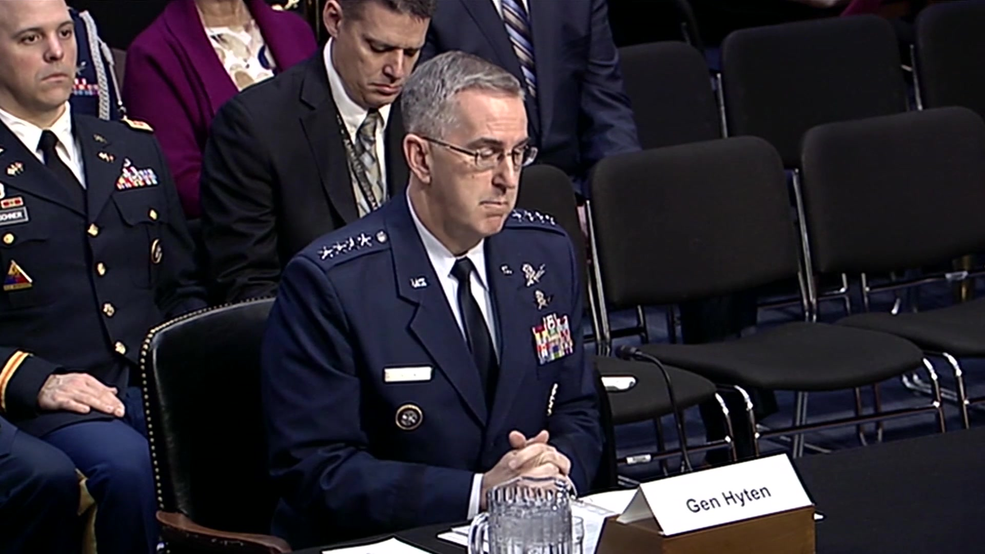 Air Force Gen. John E. Hyten, commander of U.S. Strategic Command, testifies at a hearing of the Senate Armed Services Committee concerning the fiscal year 2019 defense budget request, March 20, 2018.