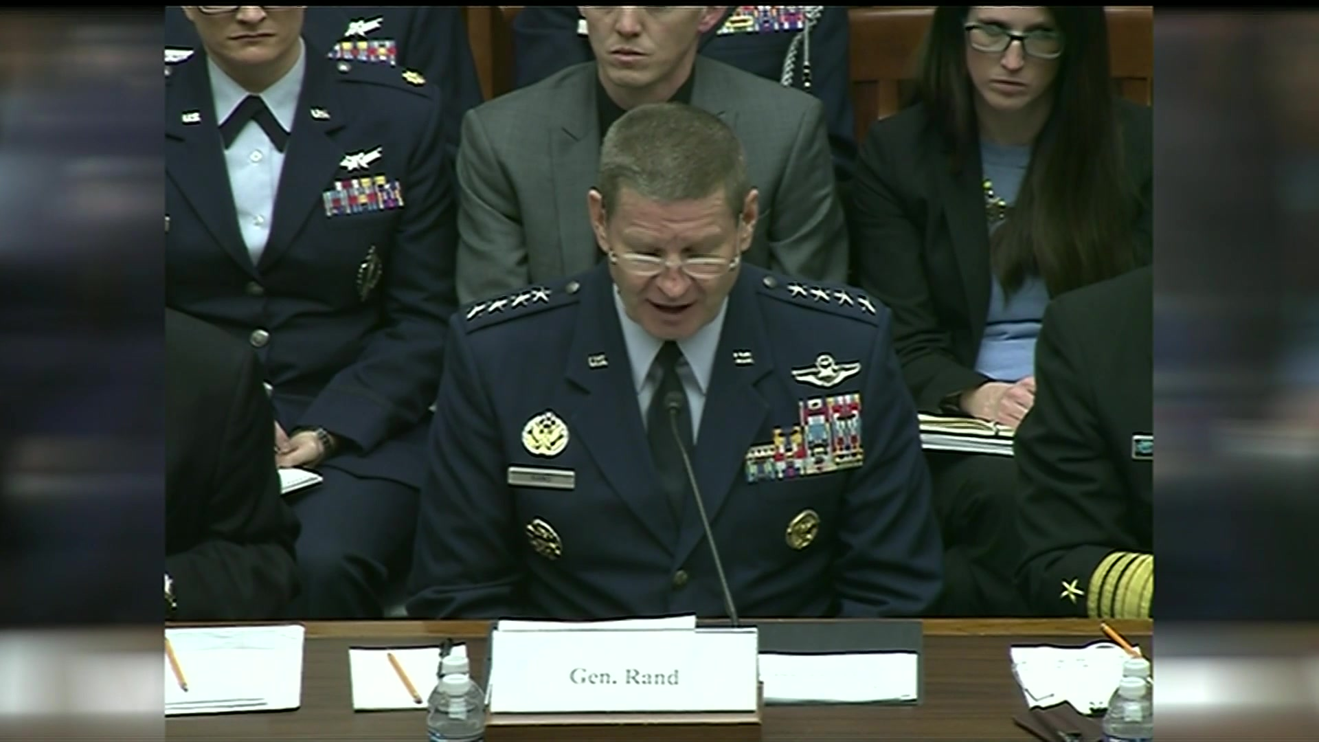 Defense officials testify at a hearing.