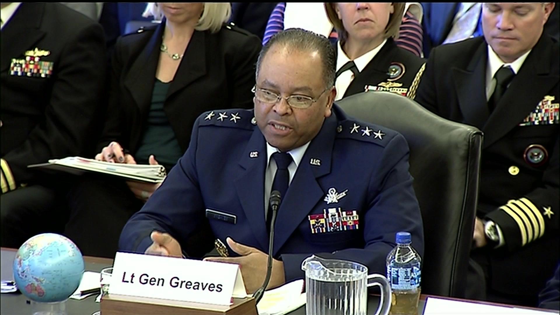 Defense officials testify at a hearing.