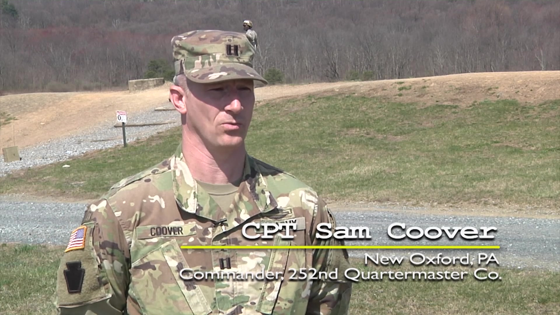 Capt. Sam Coover, commander of the 252nd Quartermaster Company, 728th Combat Support Sustainment Battalion, 213th Regional Support Group, Pennsylvania Army National Guard speaks on the relevancy and importance of individual weapons qualifications to the 252nd Quartermaster Co. in preparing Soldiers for combat scenarios.