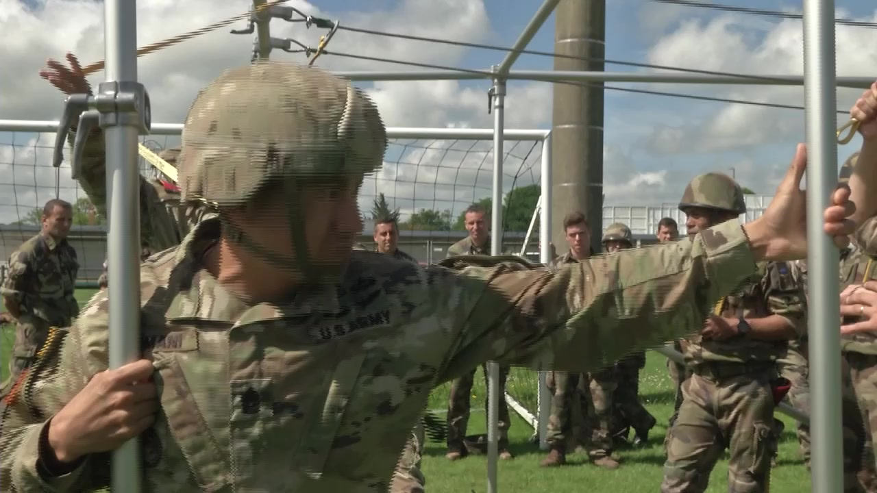 Paratroopers conduct training at an outdoor facility.