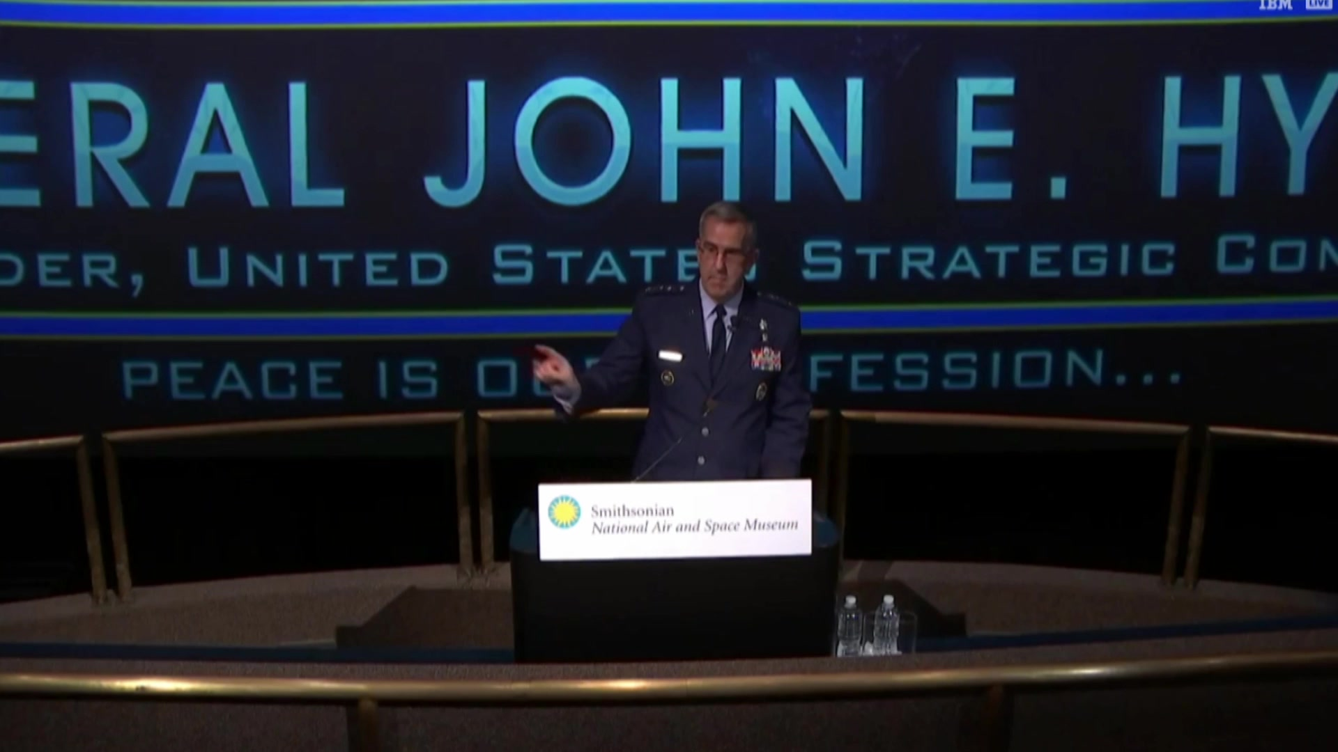 Air Force Gen. John E. Hyten discusses what it takes to protect the United States in space at the annual John H. Glenn Lecture in Space History at the Smithsonian Air and Space Museum in Washington, June 13, 2018.