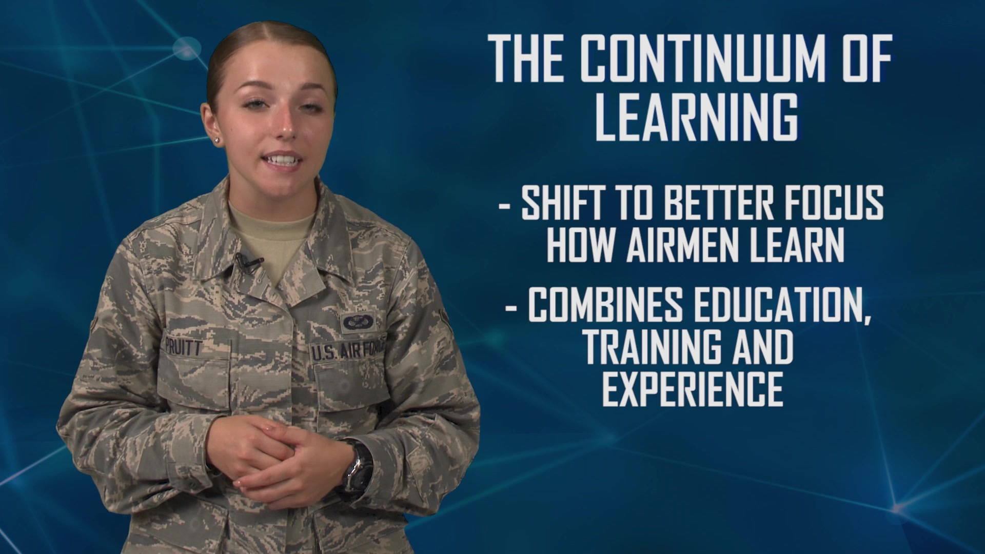 "Did you know AETC is reimagining how Airmen are being developed by empowering the learning enterprise to be proactive vs reactive? Have you heard of the ""Continuum of Learning"" and want to know more about how training, education and experiences are being combined to prepare Airmen with current and future competencies? 