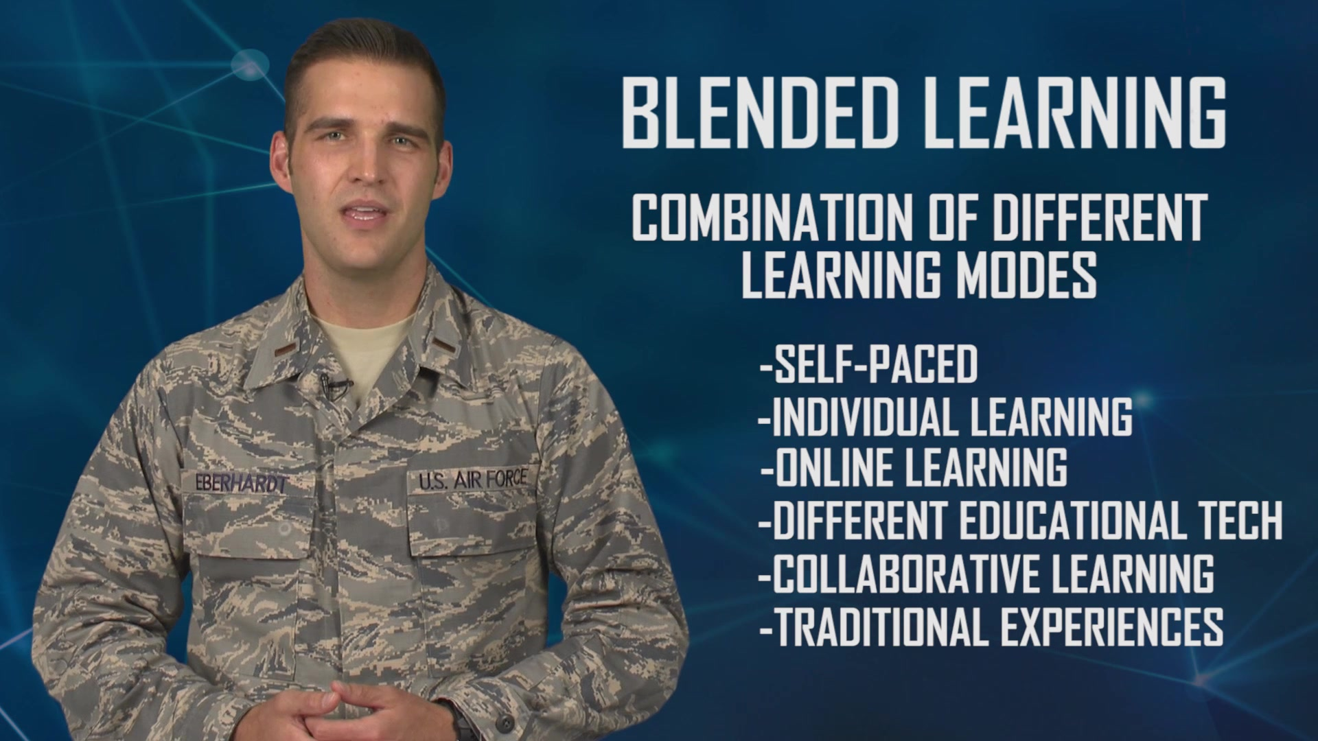 Air Education and Training Command is reimagining the way Airmen learn through the Continuum of Learning, a paradigm shift in education, training and the capitalization of experiences.   This video explains blended learning.