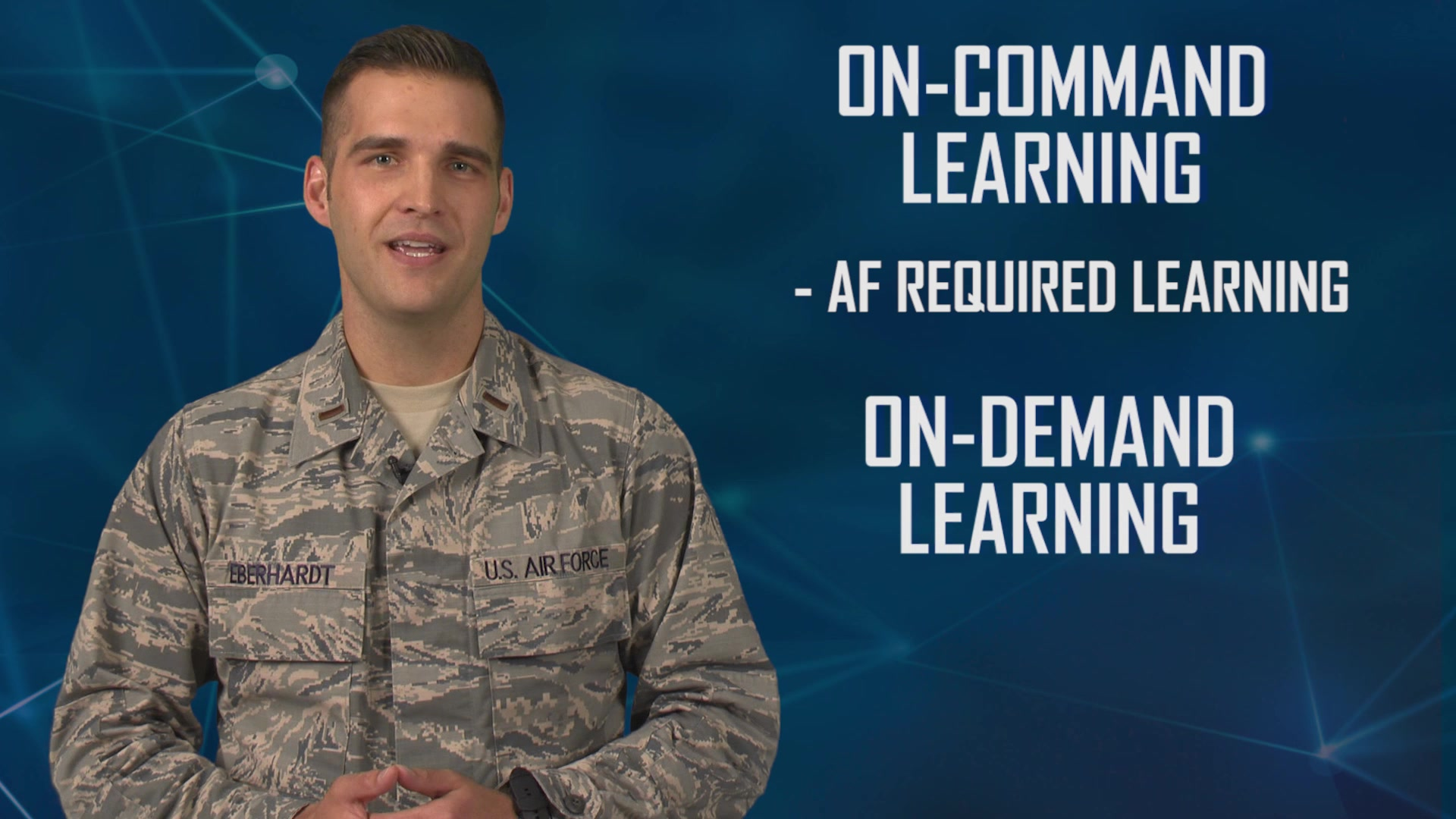 Air Education and Training Command is reimagining the way Airmen learn through the Continuum of Learning, a paradigm shift in education, training and the capitalization of experiences.   This video explains on-command and on-demand learning.
