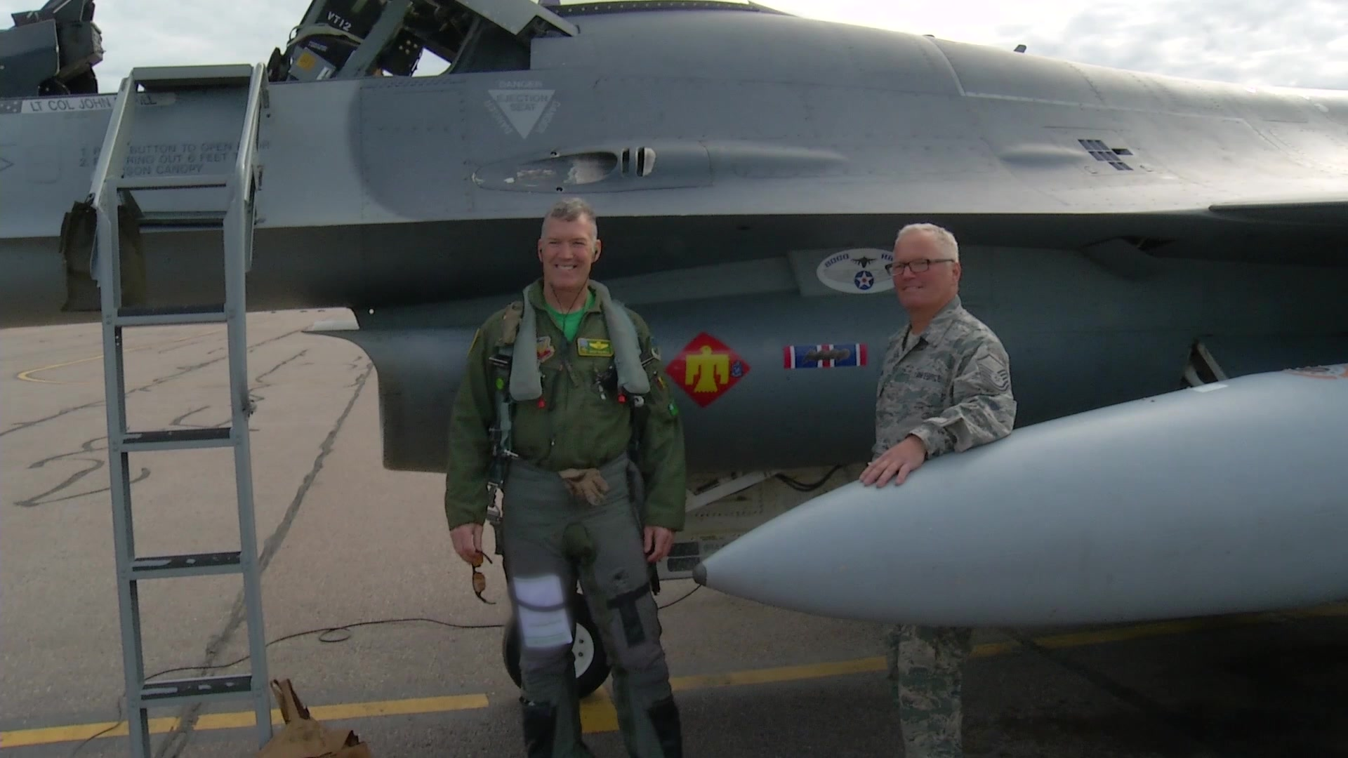 A Vermont Air National Guard F-16, which has over 8000 flight hours on it, is flown by the 158th FW for the last time by Lt. Col John Rahill. The Aircraft is being divested to the Atlantic City Air National Guard unit in New Jersey.