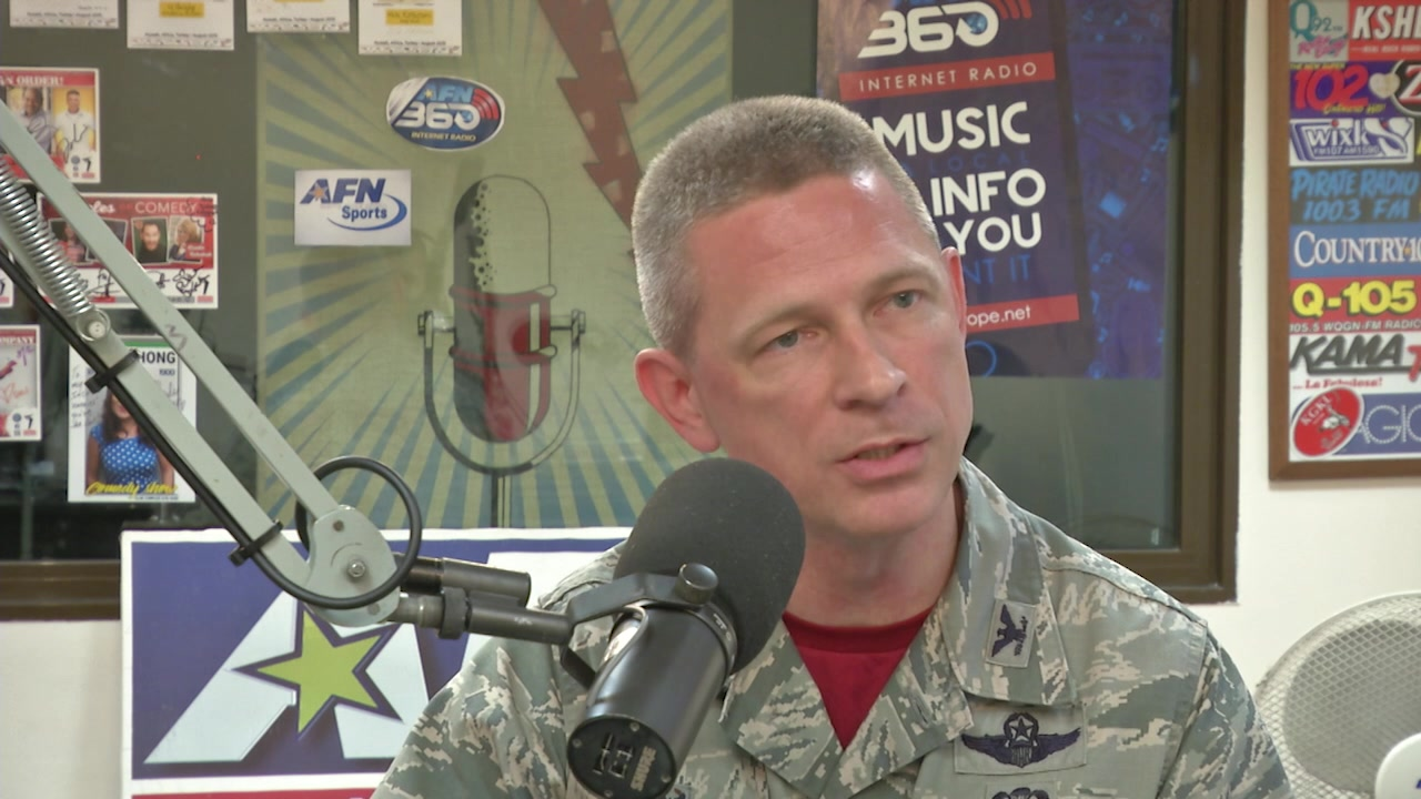 U.S. Air Force Col. Britt Hurst, 39th Air Base Wing commander speaks during his Commander's Corner about his priorities for the wing.