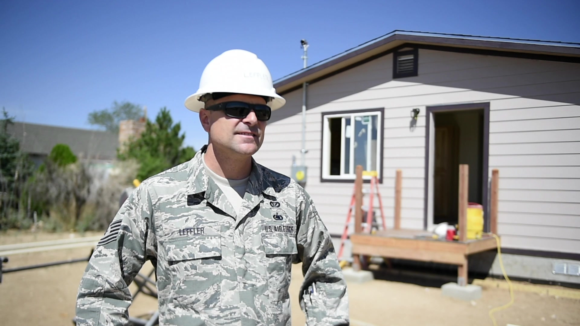 Members from the 133rd and 148th Civil Engineer Squadrons build homes for Navajo Veterans as part of an Innovative Readiness Training program led by the Naval Mobile Construction Battalion 22 in partnership with the Southwest Indian Foundation.