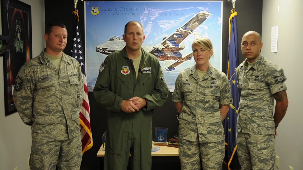 "Col. Kyle ""Gus"" Noel, Vice Commander, 122nd Fighter Wing, Fort Wayne, Ind. shares a message on the 122nd Fighter Wings end of year recruiting goals!"