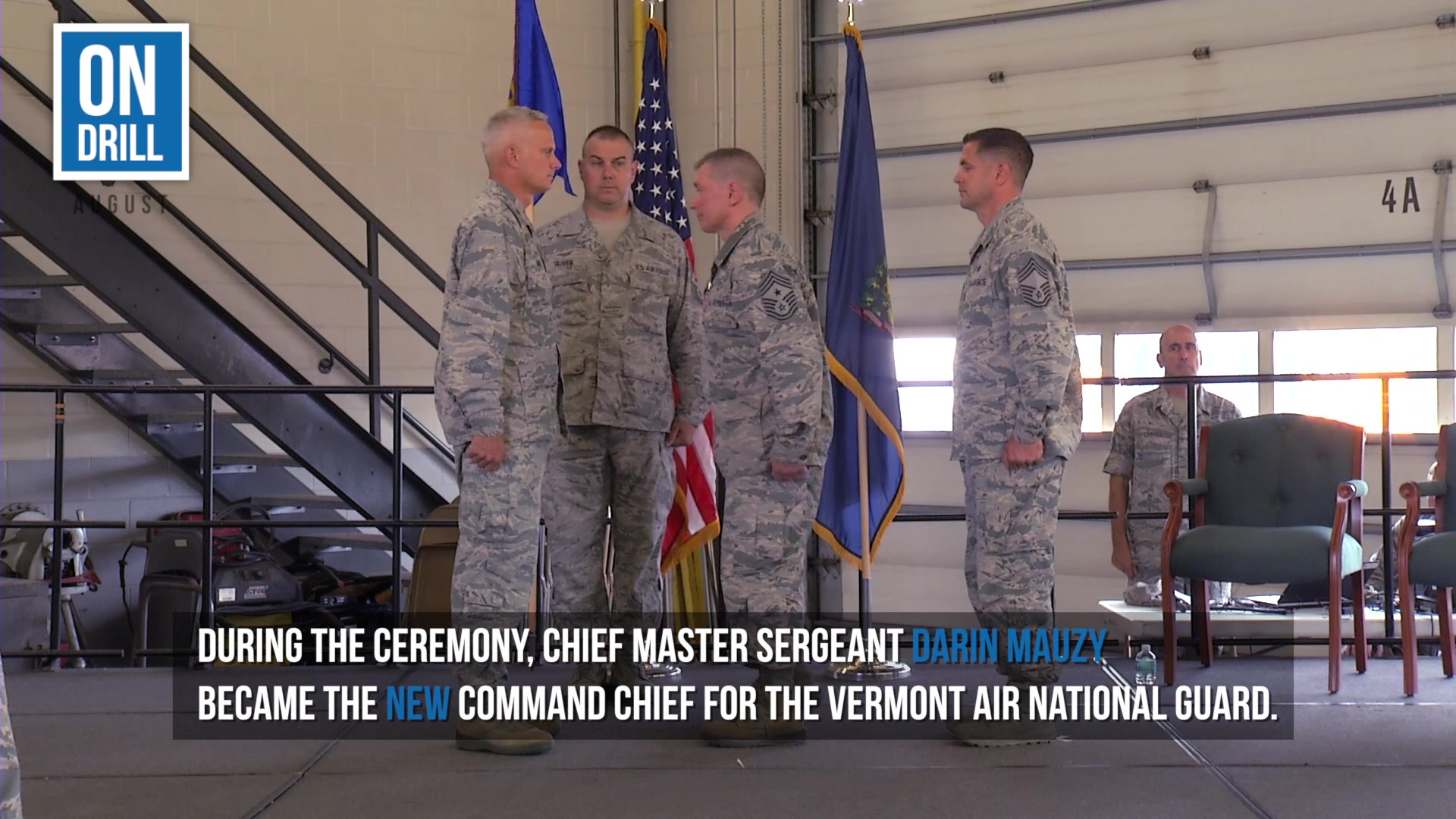 On August 4th of 2018, members of the Vermont Air National Guard honored Command Chief Master Sergeant Brian Marchessault during a Change of Command ceremony.  During the ceremony, CMSgt Darin Mauzy became the new Command Chief for the Vermont Air National Guard.