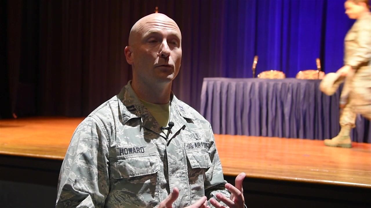 Airmen watch a Theater of War production during Wingman Day at Little Rock Air Force Base, Arkansas Aug. 9, 2018. Theater of War presents readings of ancient Greek war plays as a catalyst for guided discussions about the challenges faced by service members.  Downstreams:  :07 - Staff Sgt. Jael Laborn, Reporting :36 - A1C Andonis Porter, Volunteer 1:06 - Capt. Scotty Howard, Panelist 1:41 - Marjolaine Goldsmith, Actress