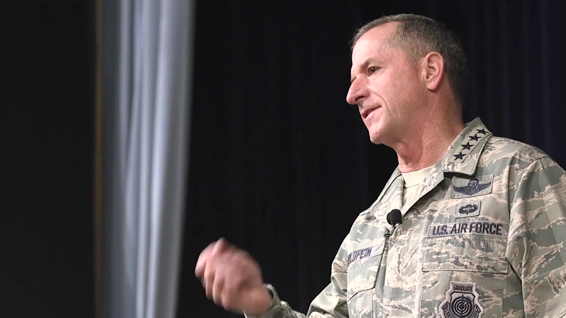Air Force Chief of Staff Gen. David L. Goldfein speaks to Air Command and Staff College students about his expectations for the future of the force on Aug. 24, 2018 at Maxwell Air Force Base, Alabama.