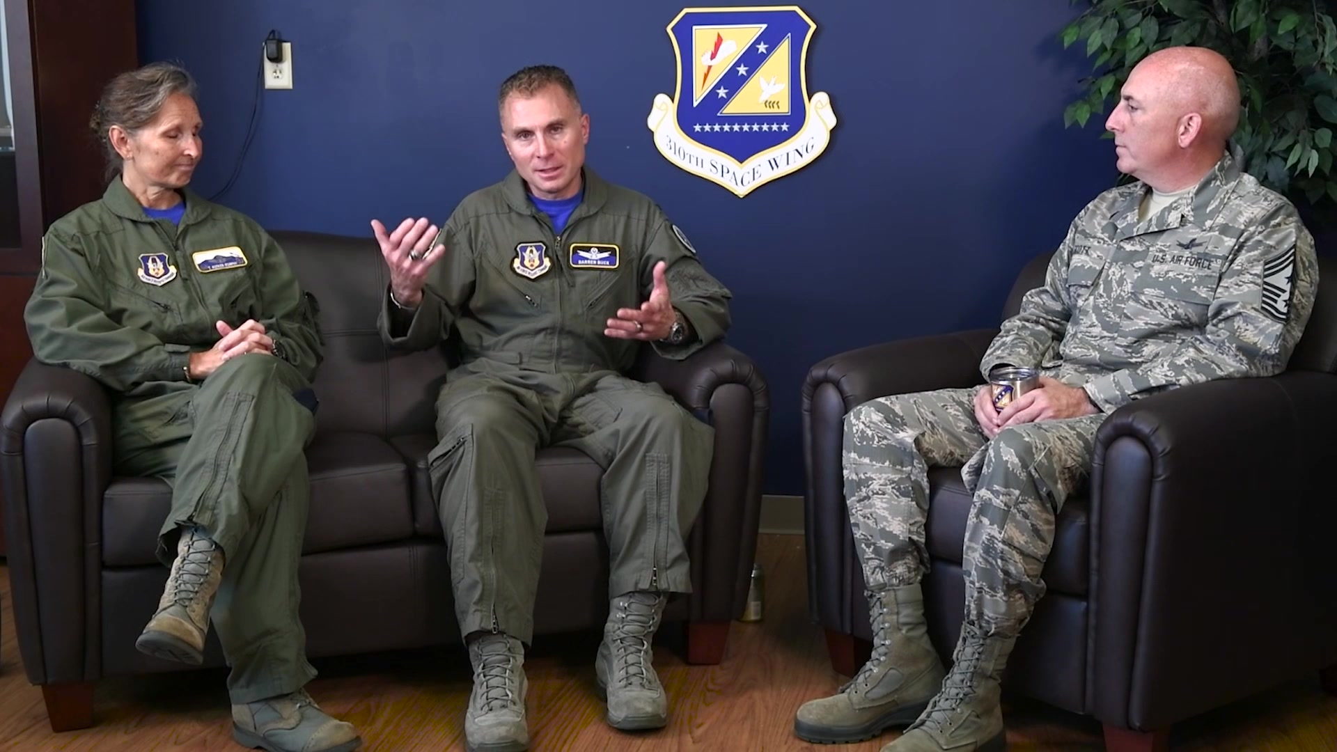 SCHRIEVER AIR FORCE BASE, Colo. -- Col. Kueker-Murphy, Col. Darren Buck and Command Chief Master Sgt. Todd Scott, the 310th Space Wing leadership, bid farewell to Colonel Buck and discuss the future of space. (U.S. Air Force video/Technical Sergeant Jeff Fitzmorris)