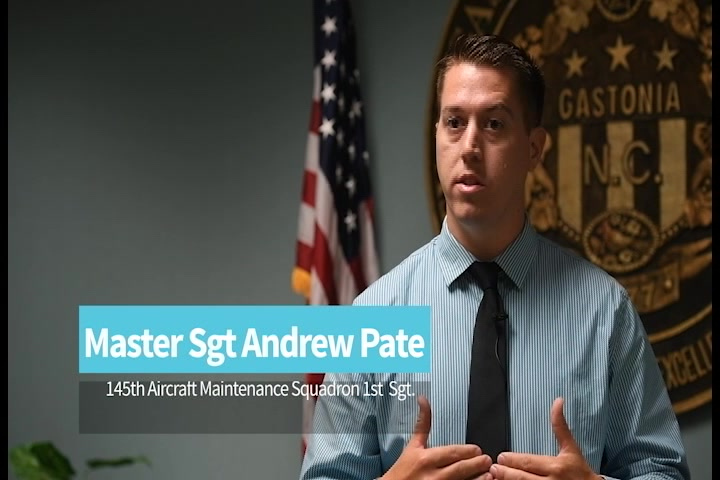 U.S. Air Force Master Sgt. Andrew Pate, 145th Aircraft Maintenance Squadron 1st Sgt., is also a detective with the Gastonia Police department and involved in the Charlotte community.