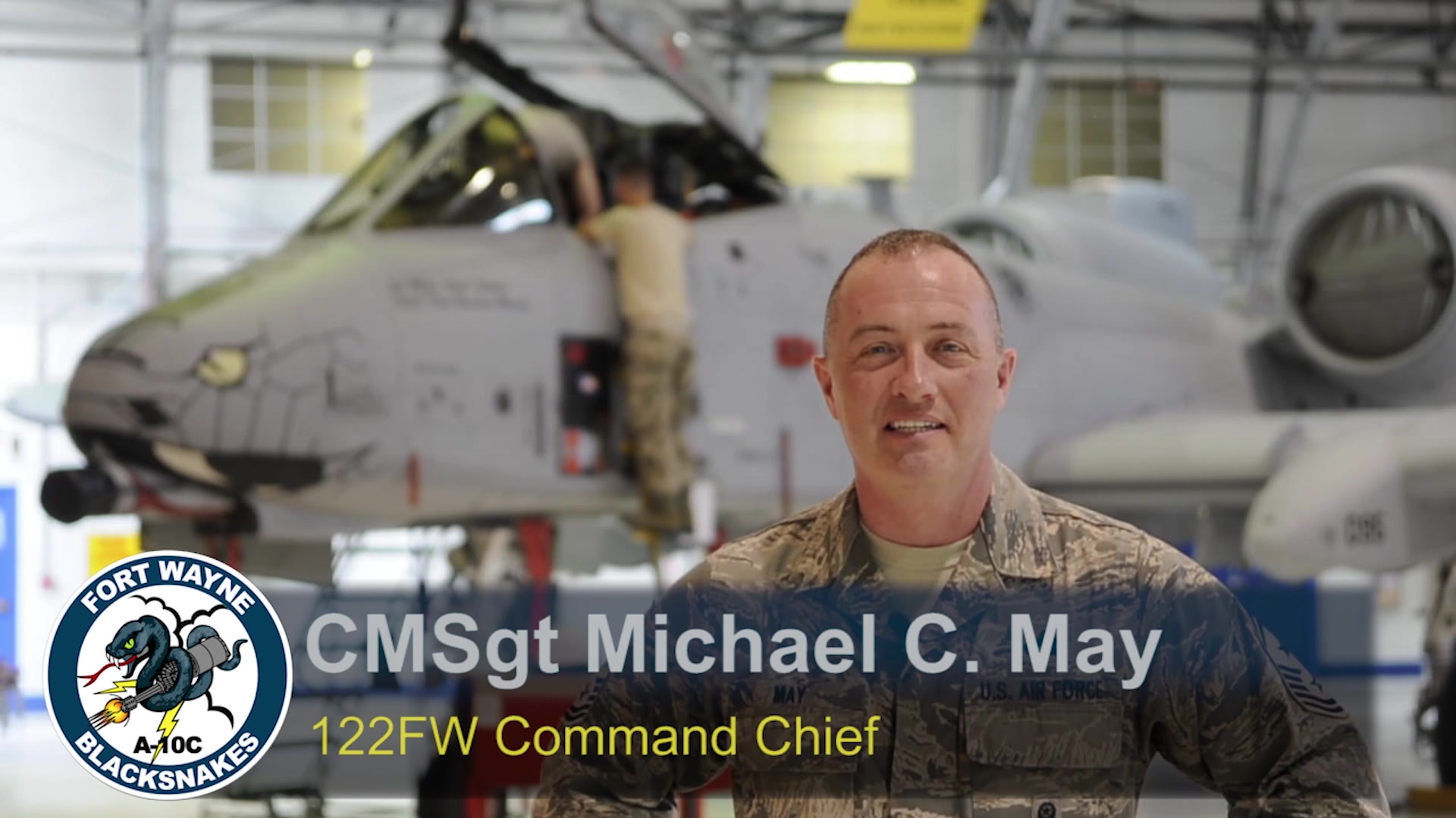 CMSgt. Michael May, Command Chief, 122nd Fighter Wing, Fort Wayne, Ind. shares a message with the Airmen at the 122nd Fighter Wing.