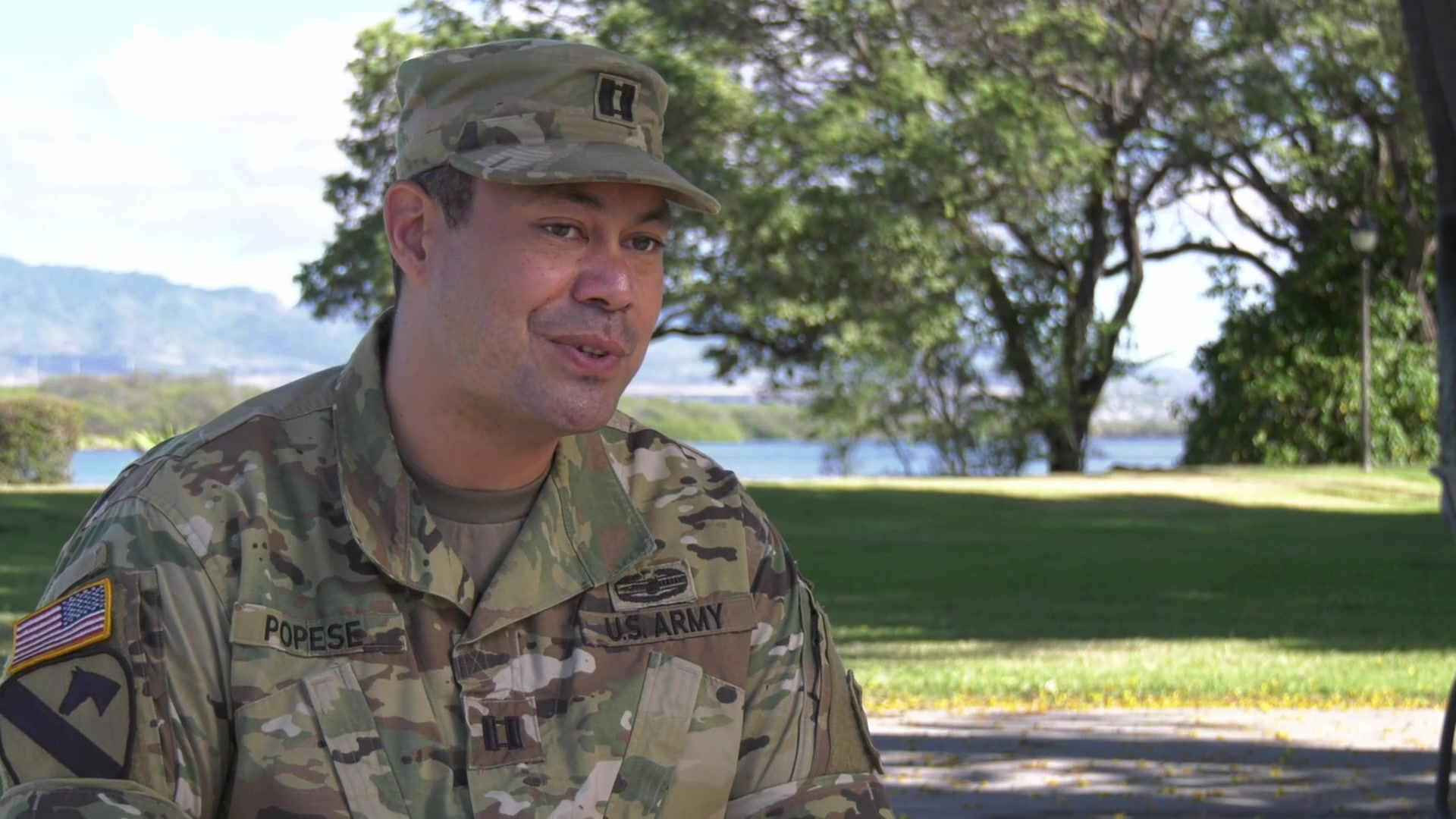 Capt. Vancamp Popese, 100th Battalion, talks about what service means to him and talks about his family's legacy of service. Also interviewed is his dad, Popese Popese Jr., talking about life in the military and why he served for his family.
