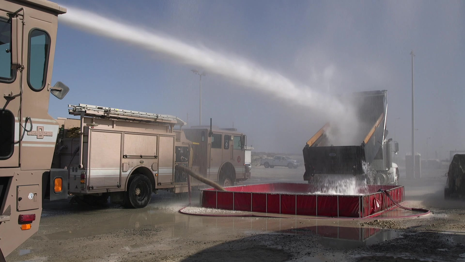 The 380th Air Expeditionary Wing Fire Department performed its annual water pump test with a change- using a simple yet innovative method to conserve their water.