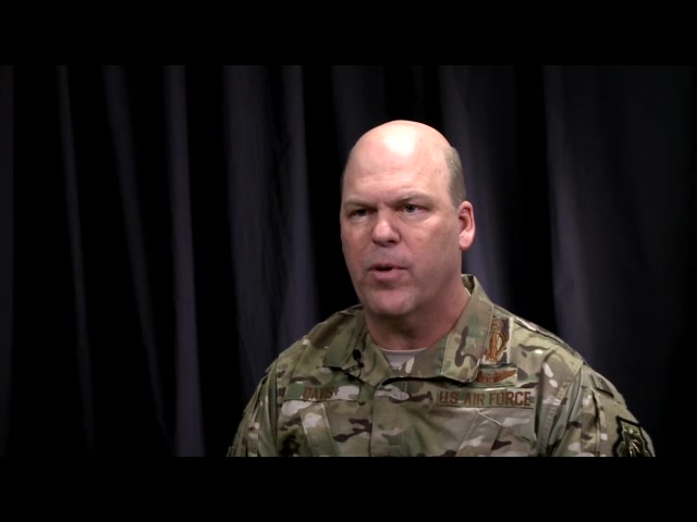 Maj Gen Stephen L. Davis, USAF, director of U.S. Strategic Command Global Operations, participates in an interview explaining more on Air Force squadron vitality.