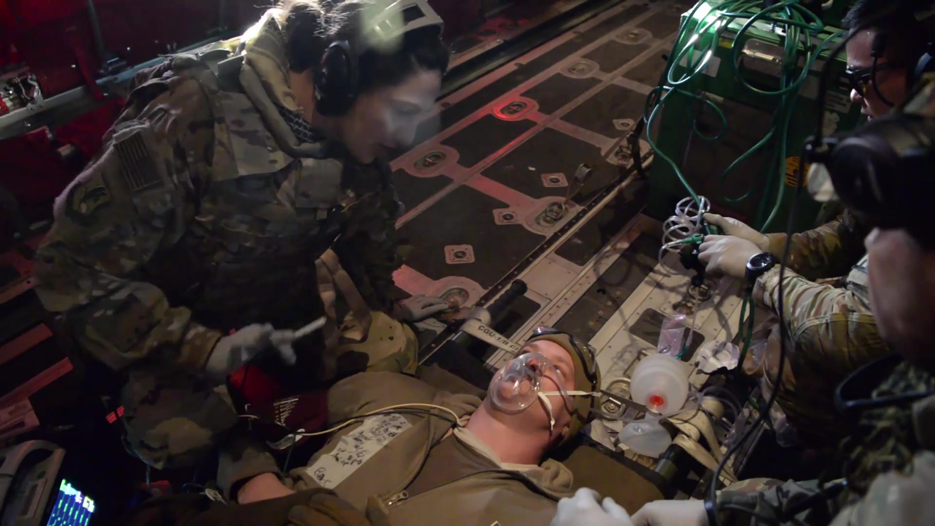 Pararescuemen and aeromedical evacuation Airmen teamed up for a training event Feb. 22, 2019 at Bagram Airfield, Afghanistan. They conducted this training in order to continue to be prepared for any potential real-word scenarios.