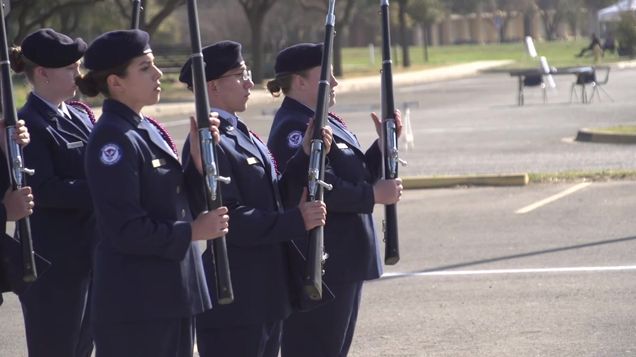 Check out Texas Junior Reserve Officers' Training Corps competing in a drill competition at Angelo State University.