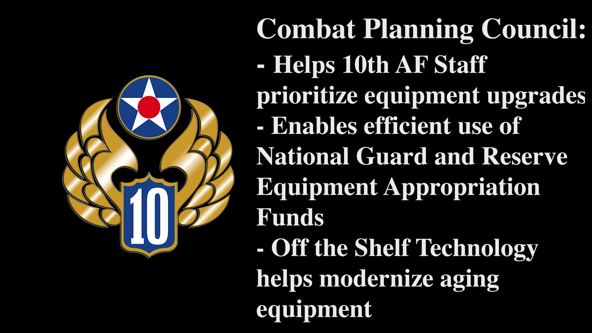 """For the April Commentary, Maj. Gen. Ronald B. """"Bruce"""" Miller, 10th Air Force Commander, and Chief Master Sgt. James Loper, 10th Air Force Command Chief, discuss Tenth Air Force's Mission, Vision, and Priorities."""