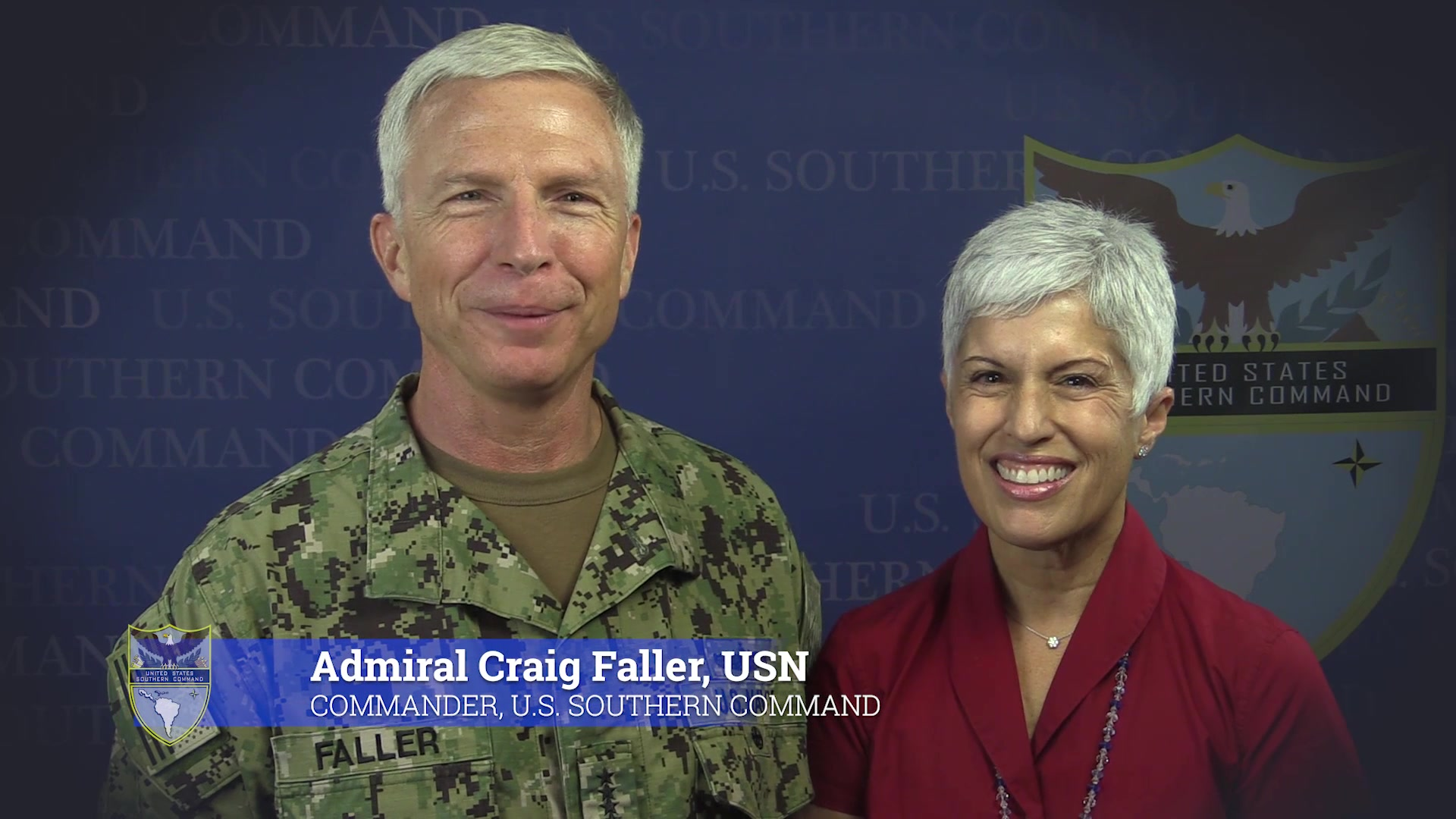 The commander of U.S. Southern Command, Navy Adm. Craig Faller, and his wife greet newcomers to SOUTHCOM.