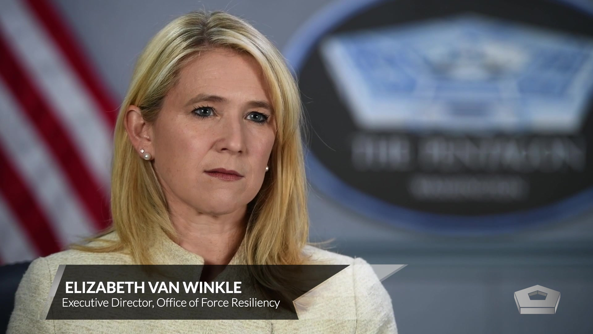 Elizabeth Van Winkle, executive director of the Office of Force Resiliency for the undersecretary of defense for personnel and readiness speaks about the 2018 Department of Defense sexual assault prevention and response report. 