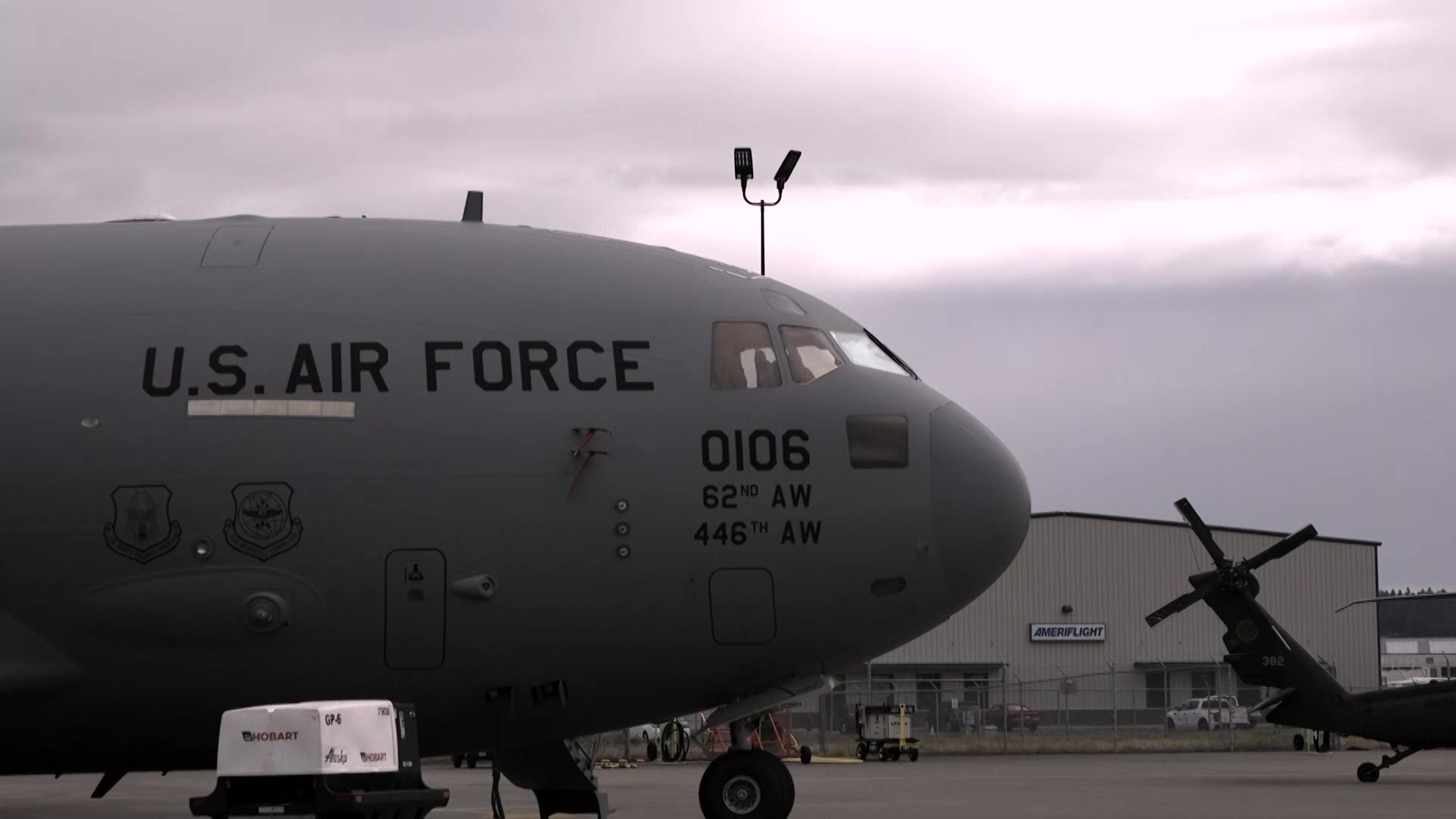 Rainier Wing Airmen participate in the 2019 Alaska Airlines Aviation Day in Portland, Ore. on May 18.