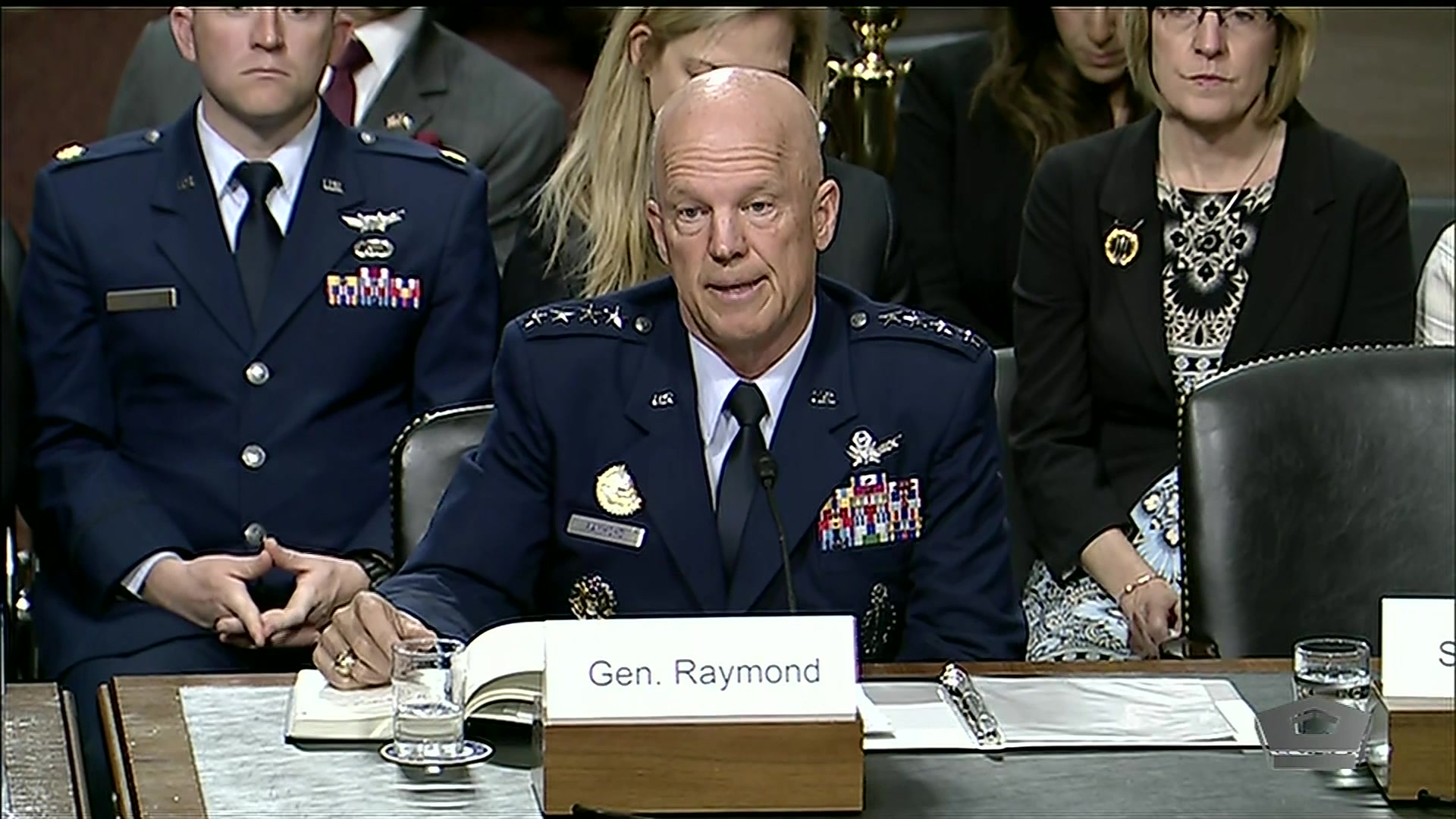 Christopher Scolese, nominated to serve as director of the National Reconnaissance Office, and Air Force Gen. John Raymond, nominated to command U.S. Space Command and Air Force Space Command, testify at a hearing of the Senate Armed Services Committee, June 4, 2019.