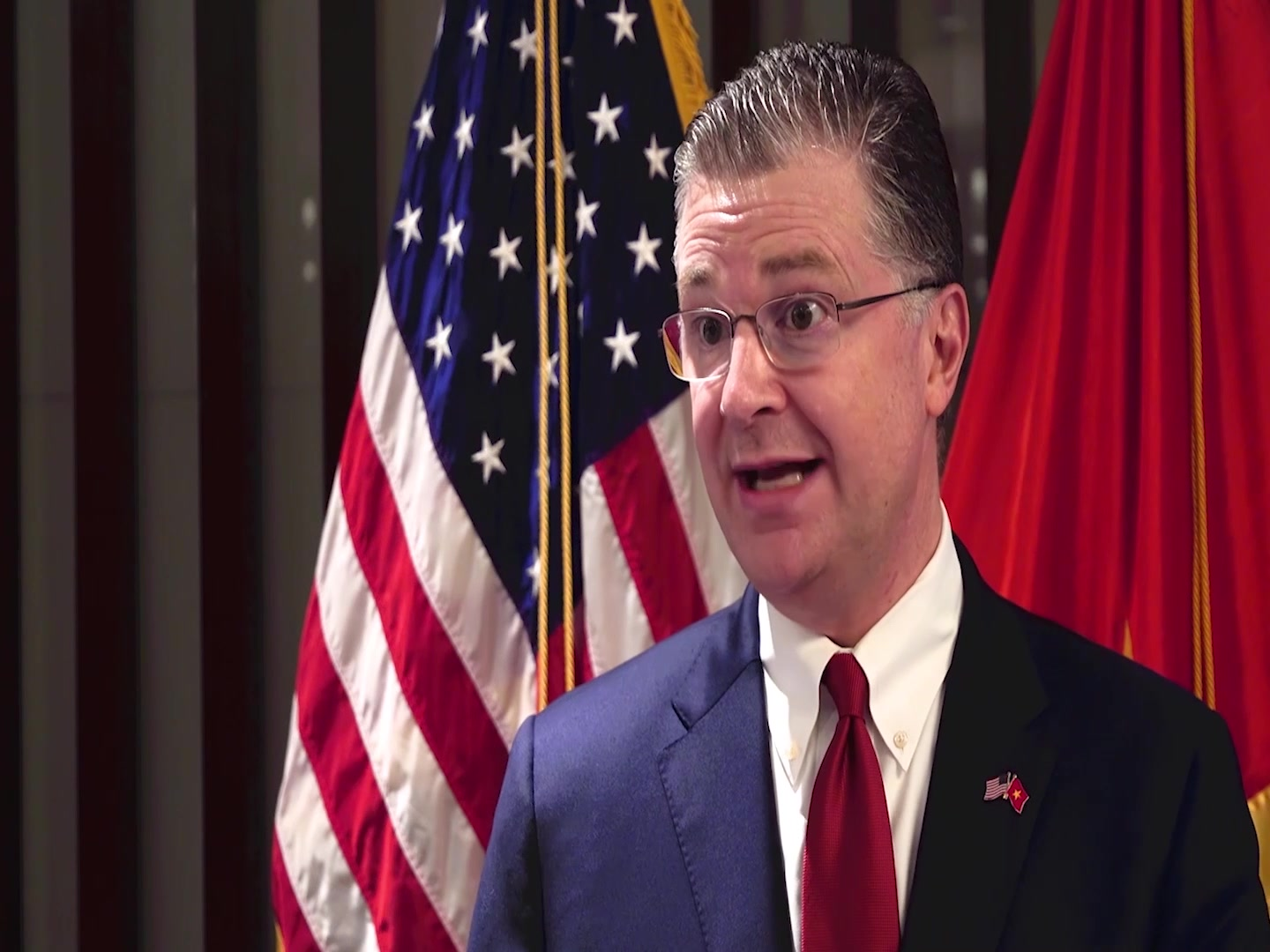 The United States Ambassador to Vietnam discusses the importance of U.S./Vietnam partnership and the role that cultural diplomacy plays in the two countries alliance during a visit from the U.S. Air Force Band of the Pacific to Vietnam.