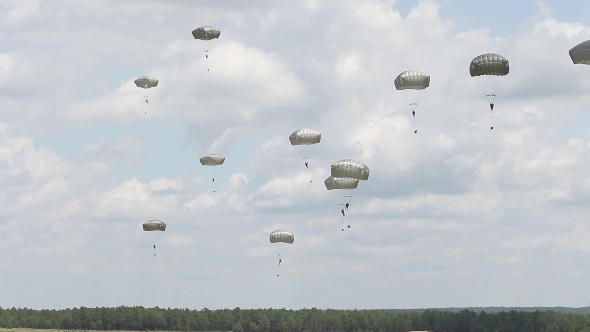 Modern Paratrooper jumps for historical demonstration team