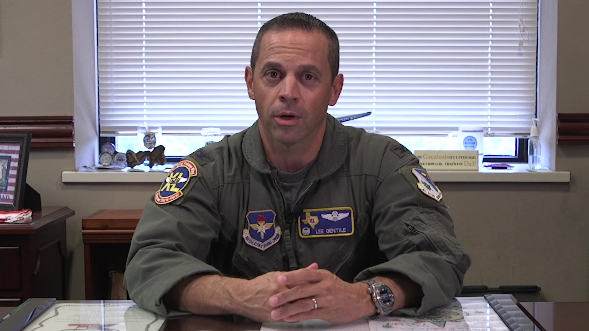 Col. Lee Gentile, 47th Flying Training Wing commander, addresses Laughlin personnel about feeling connected, respected and protected by their peers Aug. 2, 2019, at Laughlin Air Force Base, Texas.