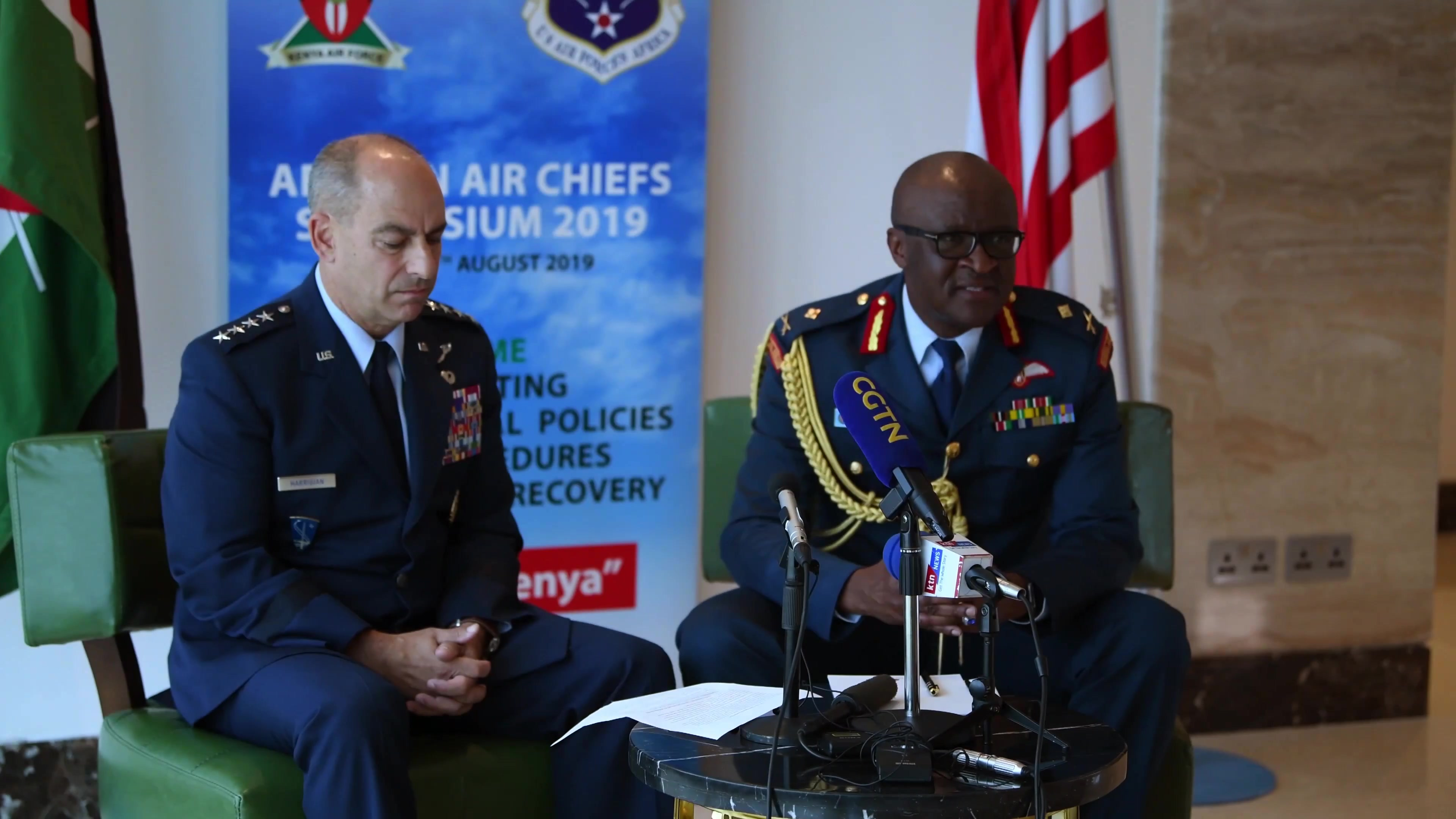 US Air Africa (AFAFRICA), along with the Kenyan Air Force, hosts the 9th annual African Air Chief's Symposium (AACS) in Nairobi, Kenya, August 26-29th 2019. A press conference was held with General Jeffrey Harrigian, Air Forces Europe- Air Forces Africa Commander and Major General Francis Ogolla, Kenya Air Force Commander. More than 40 Air Force delegates from 38 partner nations are participating in the event. This year's AACS includes a variety of engagement opportunities for participating nations to identify key challenges confronting African Air Chief's, strengthen partner networks, discuss inter-operable policies and procedures for personnel recovery and share best practices for enhancing partner capabilities.