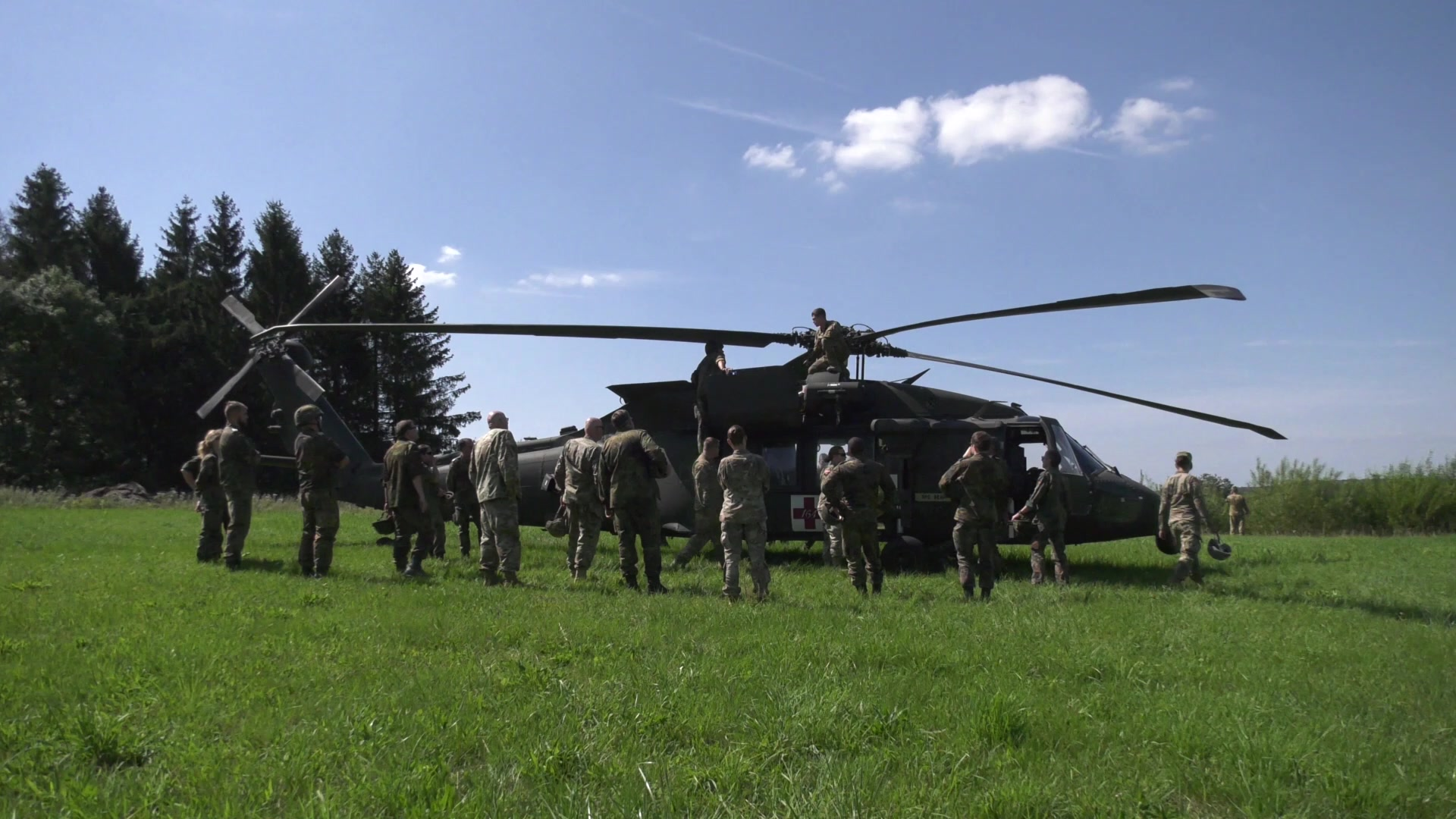 U.S. Army Reserve medical Soldiers from Medical Support Unit-Europe, 7th Mission Support Command, teamed up with German Bundeswehr Army Reserve medical Soldiers for partnership training that included medical treatment scenarios in a mobile hospital and litter aid training loading and unloading a UH-60 Blackhawk helicopter.