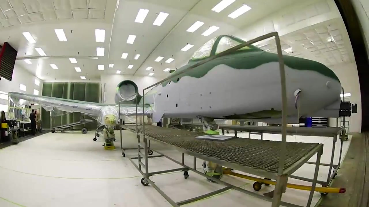 The 355th Equipment Maintenance Squadron fabrication flight repaints an A-10 Thunderbolt II for the A-10 Demonstration Team at Davis-Monthan Air Force Base, Arizona, Aug. 28, 2019.