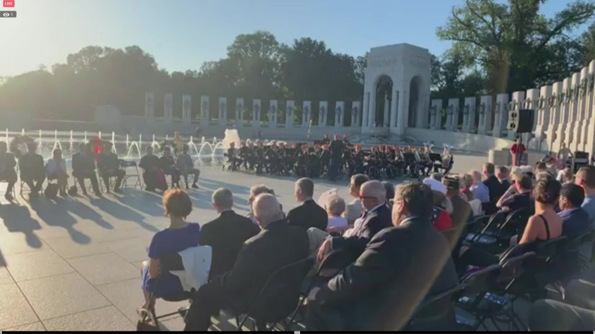 An event at the National World War II Memorial in Washington commemorates the 75th anniversary of the liberation of Paris, Aug. 29, 2019.
