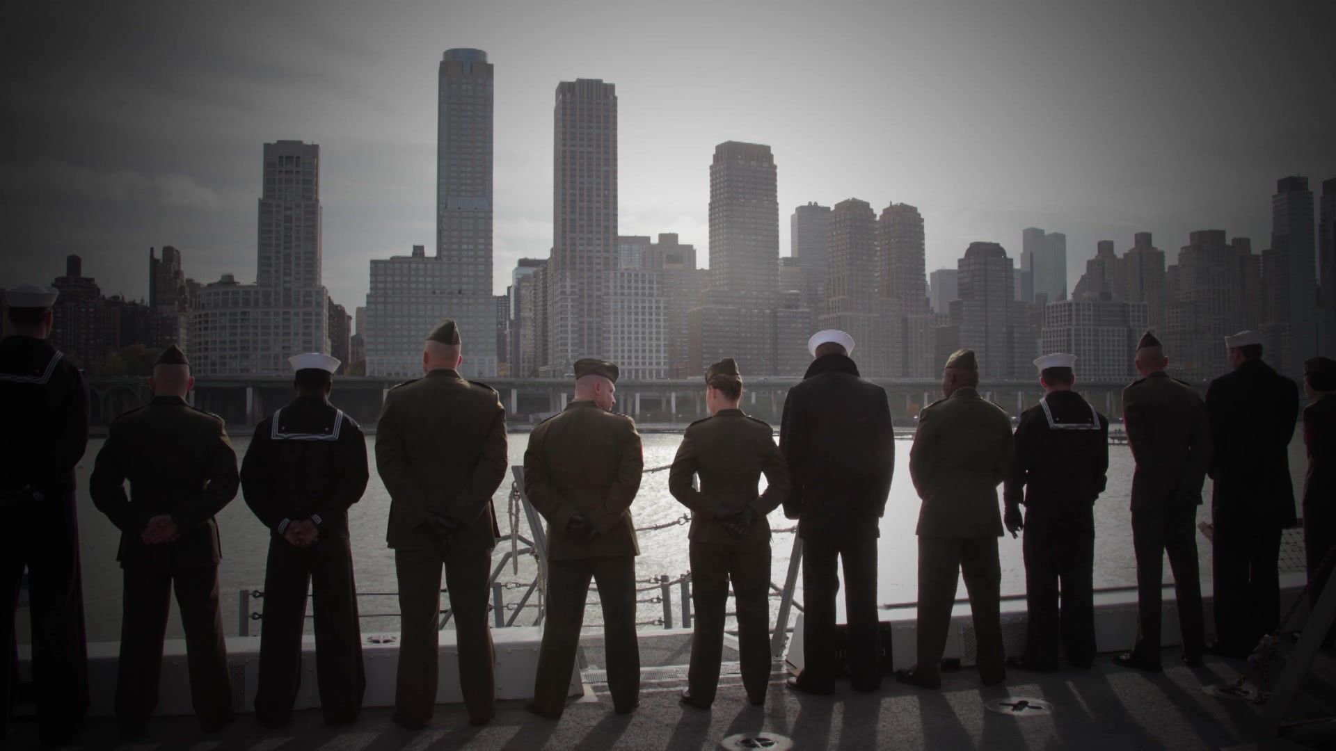 U.S. Marines and Sailors aboard the USS New York (LPD 21) Remember 9/11