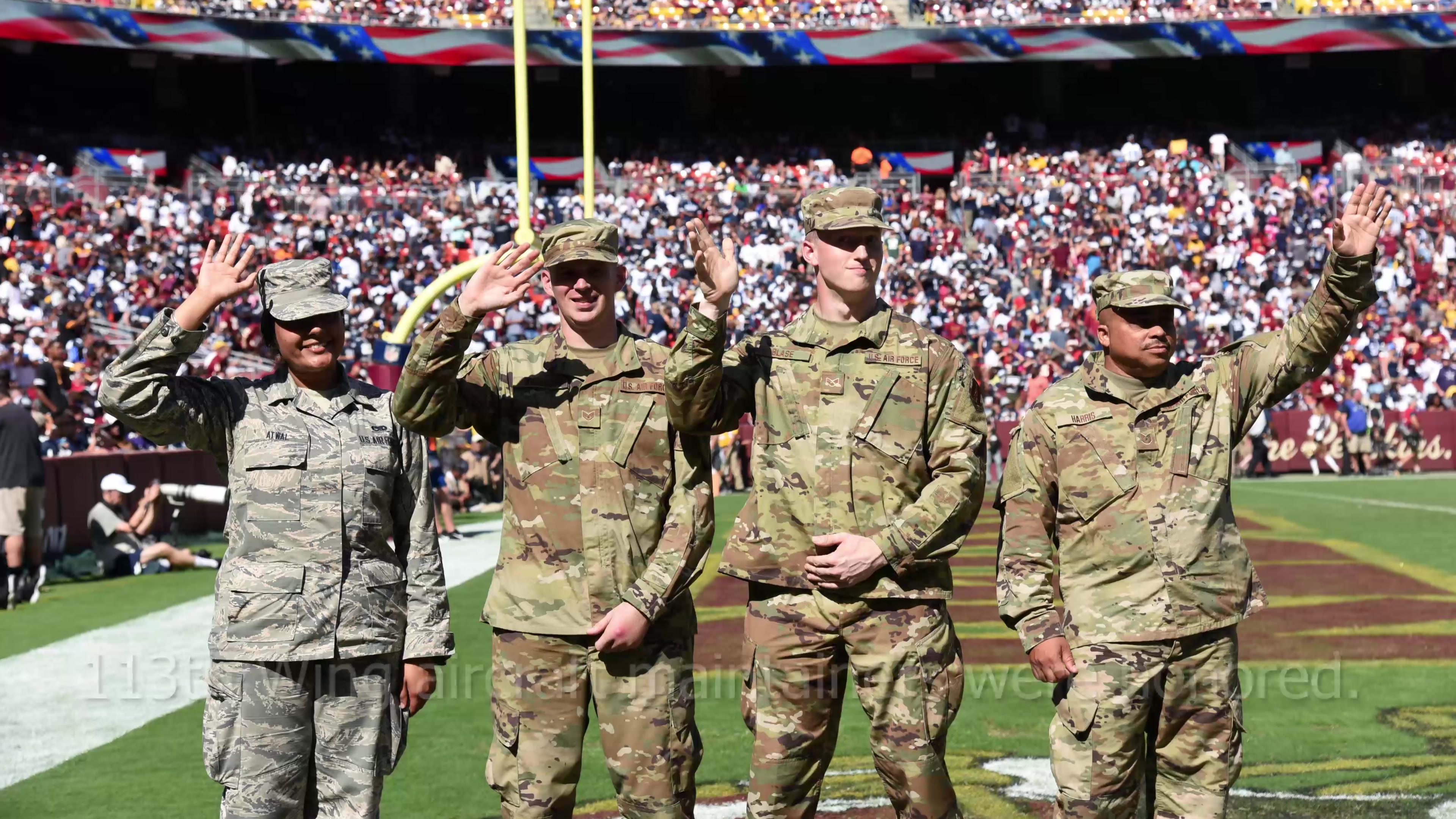Members from the 113th Wing were recognized by the Washington Redskins honoring the United States Air Force's upcoming 72nd birthday during their game versus the Dallas Cowboys, September 15, at FedEx Field.