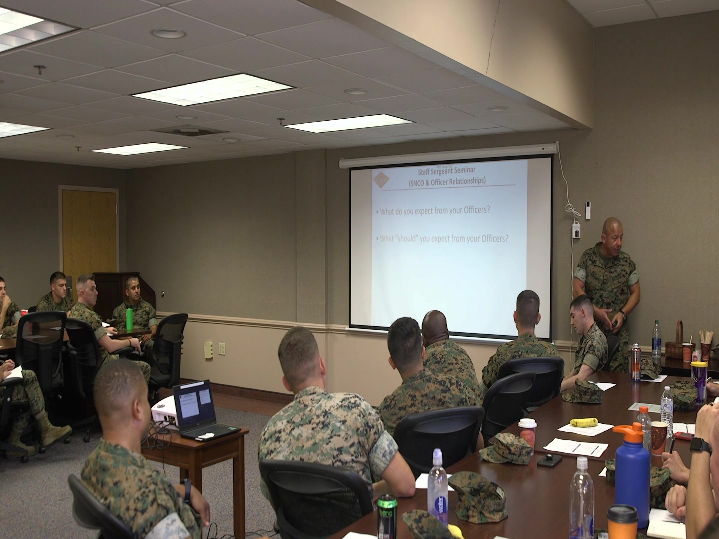 Sgt. Maj. Valdemar Cambunga led a seminar for staff sergeants selects at Marine Corps Air Station Beaufort, S.C., on September 19, 2019. The seminar was created to help non-commissioned officers transition to staff non-commissioned officers by giving them the skills and knowledge that is expected of them as an SNCO. Cambunga is the sergeant major of Marine Air Support Squadron 1, Marine Air Control Group 28, 2nd Marine Aircraft Wing. (U.S. Marine Corps video by Pfc. Gavin Umboh)